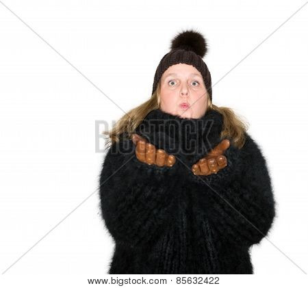 Beautiful woman with a black angora sweater