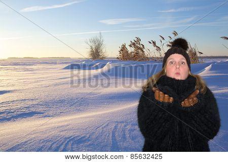 Beautiful woman in a Sunshine winter landscape