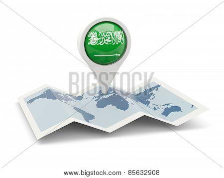 Round Pin With Flag Of Saudi Arabia