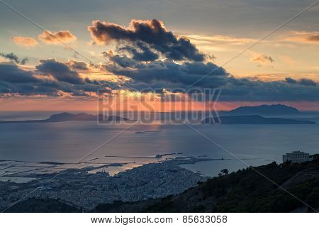 Trapani And Aegadian Islands At Sunset