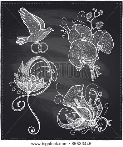 Chalkboard wedding floral hand drawn graphic set.