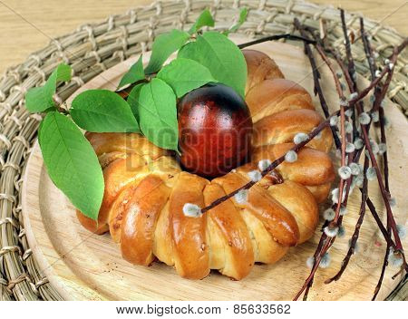 Celebratory Easter Bread And Eggs