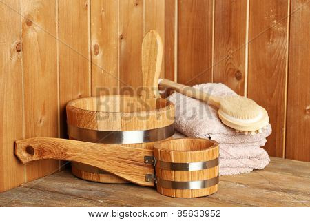 Natural accessories in sauna
