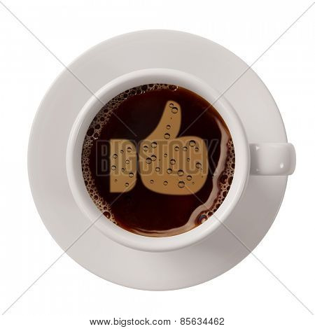 Thumbs up symbol in cup of coffee as sign for social networks (3D Rendering)