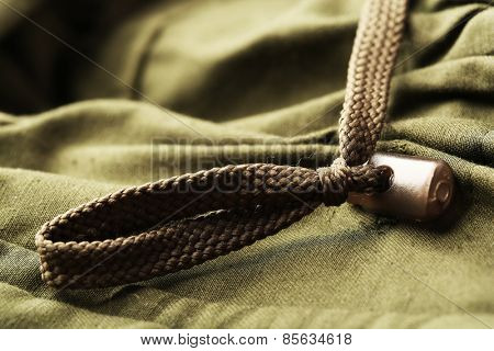 Cord on clothes close up