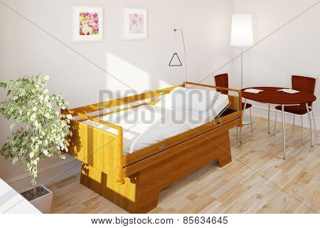 Empty clean care bed in nursing home in a hospital (3D Rendering)