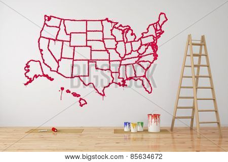 Map of USA with federal states painted on wall during renovation (3D Rendering)