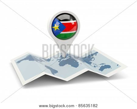 Round Pin With Flag Of South Sudan