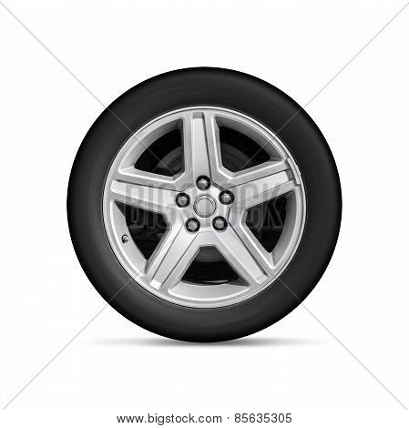 Automotive Wheel On Light Alloy Disc Isolated On White