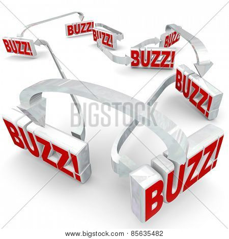 Buzz words in 3d letters connected by arrows to illustrate sharing or spreading hot news, gossip, rumors or information in a network or group of people