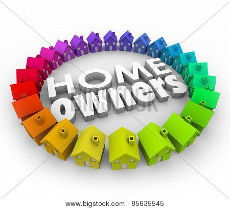 Home Owners words in white 3d letters surrounded by many houses to illustrate homeownership in a neighborhood or community and achiving the dream of owning property