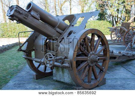 Gun Of World War I In Open-air Museum In Italy