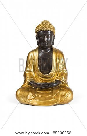 Gold Buddha statue isolated over white with clipping path.
