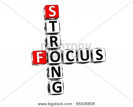 3D Crossword Strong Focus On White Background