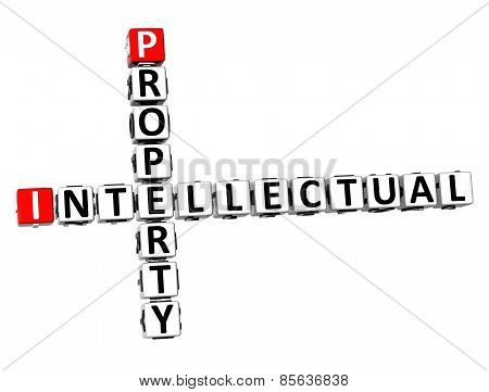3D Crossword Intellectual Property On White Background