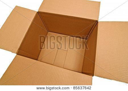 Angled Empty Cardboard Box