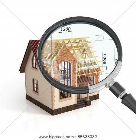 Construction House Plan Design Blend Transition Illustration In Magnifier. Construction Process With