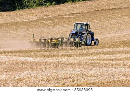 Tractor Seeding Large Field For Crops
