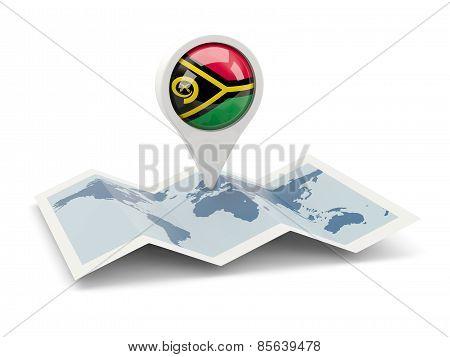 Round Pin With Flag Of Vanuatu