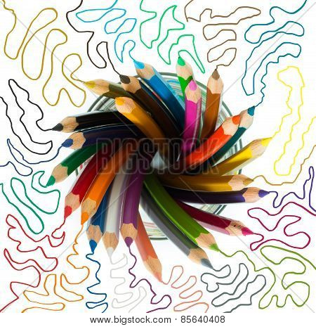 bunch of wooden color pencils in a glass with colored sketch lines