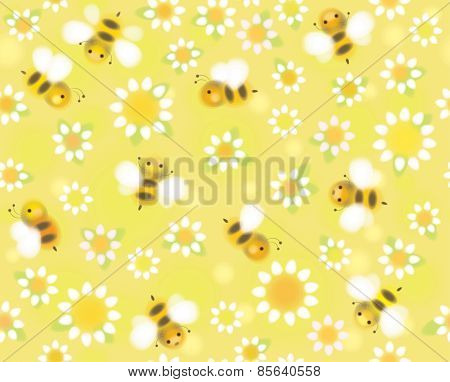 Vector seamless pattern chamomiles and bees.