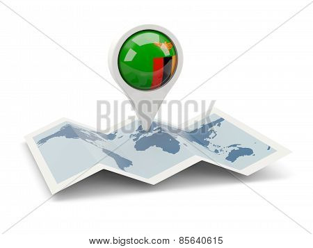 Round Pin With Flag Of Zambia
