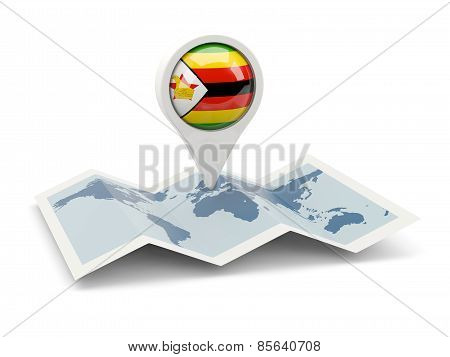 Round Pin With Flag Of Zimbabwe