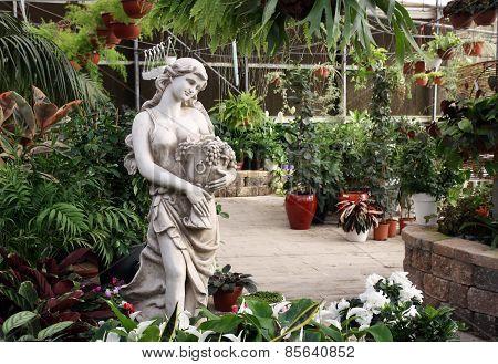 Garden Sculpture Girl With Vase