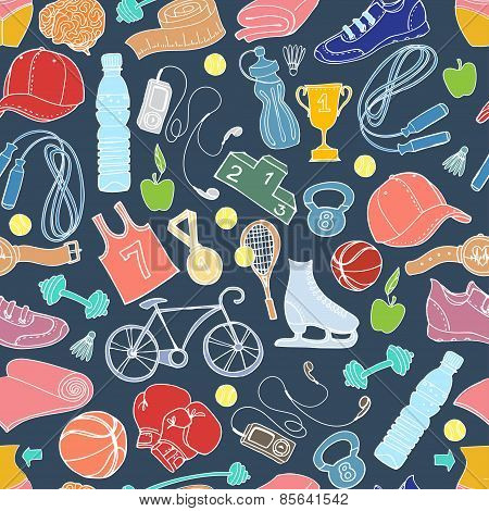 Sport and fitness seamless doodle pattern