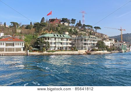 Istanbul Coast, Asian Side, Saw From Bosphorus, Turkey