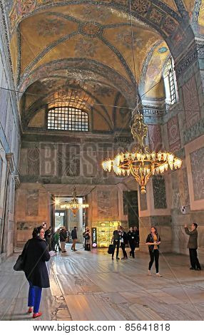 Tourists Are Visiting The Cathedral of Saint Sophia In Istanbul, Turkey