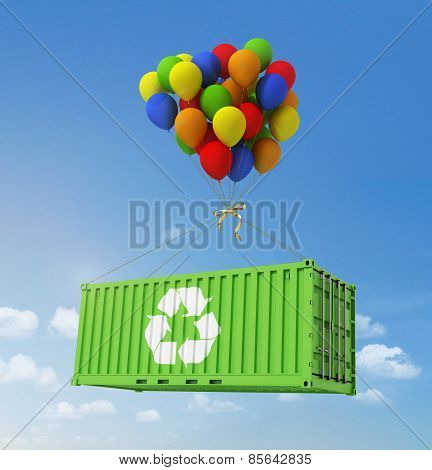 The Concept Of Ecological Transportation. Balloons Are A Freight Container On A Background Of Blue S