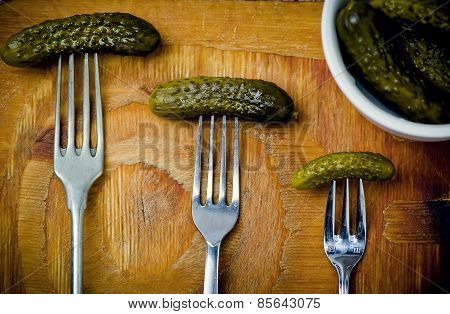 Pickled Cucumbers   On A Fork