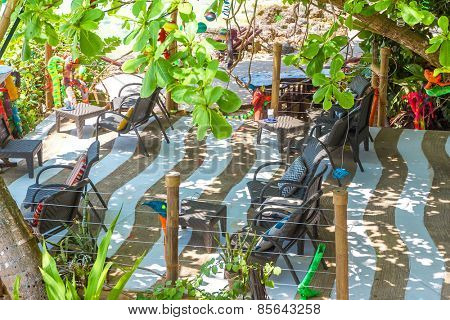 small cafe in tropics, leisure time, lounge area
