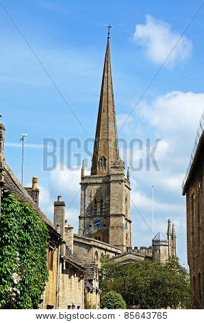 Burford church spire.