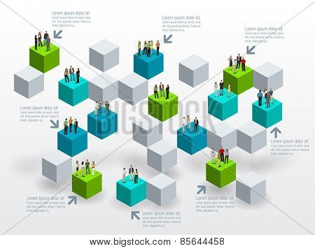 Template for advertising brochure with business people over blocks