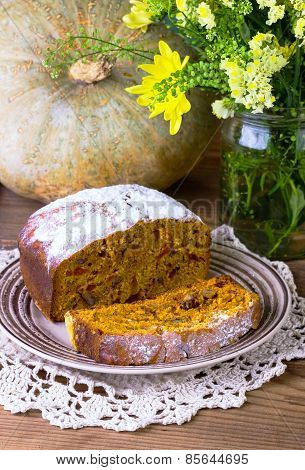 Cake With Pumpkin, Nuts And Raisin