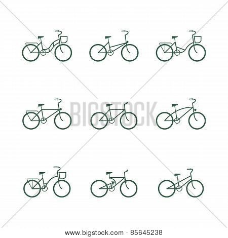 Bicycle signs. vector set of simple bike icons