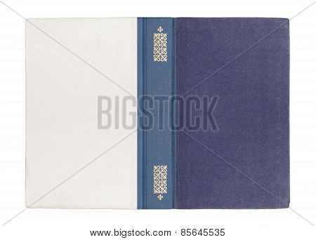 Vintage open book with a blue cover on a white background