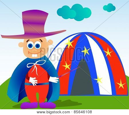 Magician kid standing in front of a tent and holding a wand.