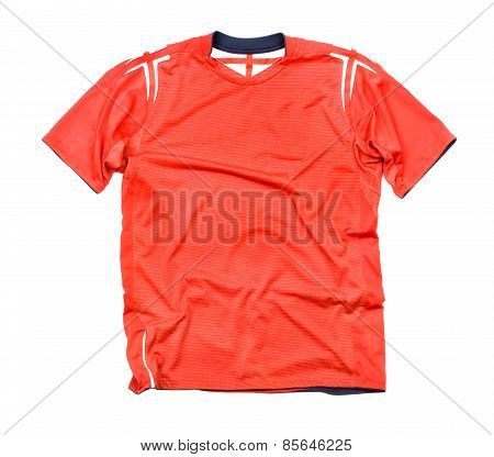 Red Sports Shirt On A White Background
