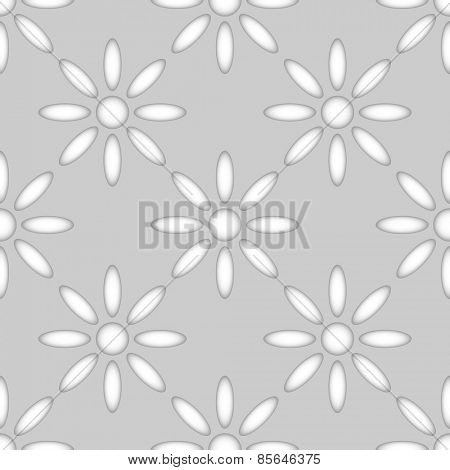 Seamless abstract flower shapes paper cut vector pattern.