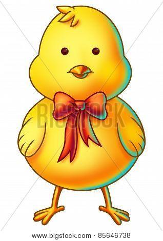 Yellow Easter Chicken Cartoon Character