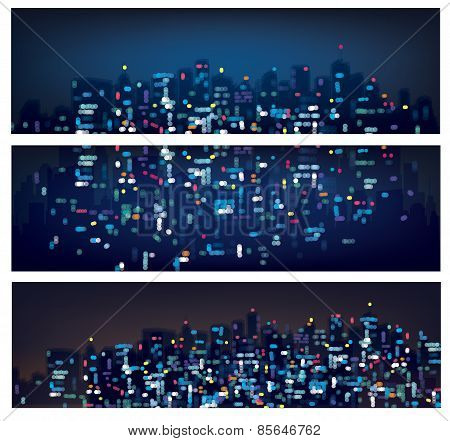 Vector Abstract Bokeh Night City Banners.