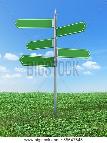 Road Sign In Green Grass Field Over Blue Sky Background.