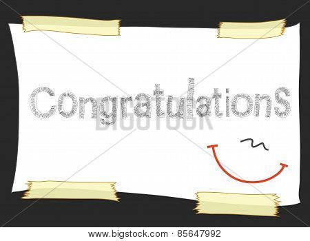 Congratulations Pencil Short Note On Paper Tape