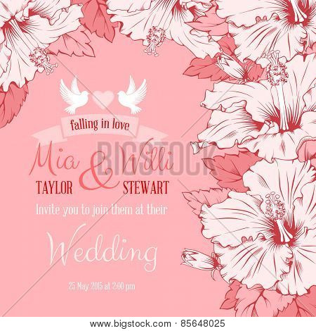 Vector Floral Frame for invitations or announcements with exotic hibiscus. Easy to edit.