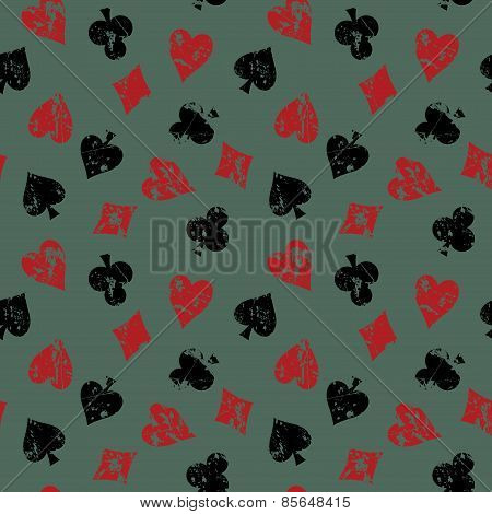 Vintage Background With Suits Of Playing Cards