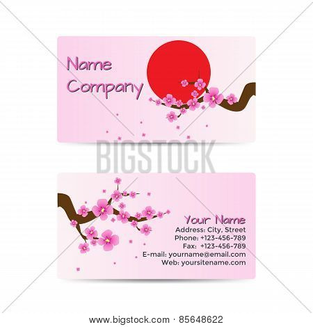 Business Card with Blooming Sakura