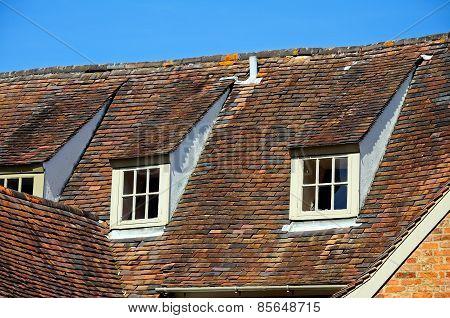 Rooftop windows, Tewkesbury.